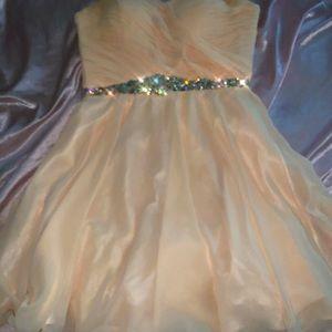 peach strapless homecoming dress
